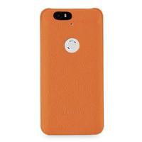 Кожаный чехол накладка (нат. кожа) для Google Huawei Nexus 6P Оранжевый