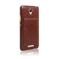 Дизайнерский чехол накладка с кожаным покрытием и отделением для карт-подставкой для Xiaomi RedMi Note 2 Коричневый