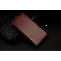 Чехол вертикальная книжка на клеевой основе с магнитной застежкой и отделением для карты для Highscreen Zera U Коричневый