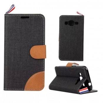 Чехол флип подставка на силиконовой основе с тканевым покрытием, магнитной застежкой и отделением для карт для Samsung Galaxy Core Prime