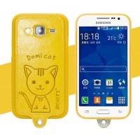 Силиконовый матовый непрозрачный чехол с кожаным покрытием и принтом Кот для Samsung Galaxy Core Prime