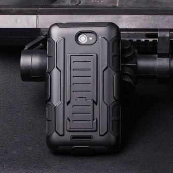Трехкомпонентный ударостойкий силиконовый чехол с поликарбонатной крышкой и независимым защитным модулем для экрана на клипсе под ремень для Sony Xperia E4