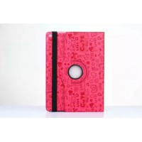 Чехол подставка роторный с рельефным принтом для Ipad Pro Розовый