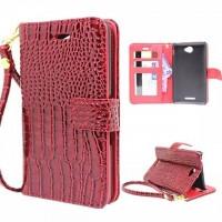 Чехол портмоне подставка с защелкой серия Croco Pattern для Sony Xperia E4 Красный