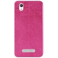 Текстурный чехол флип подставка на силиконовой основе для ZTE Blade X3 Розовый