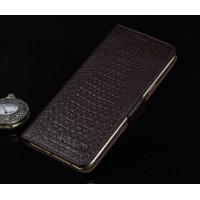 Кожаный чехол портмоне подставка (нат. кожа крокодила) для HTC One A9