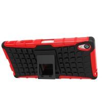 Антиударный гибридный чехол экстрим защита силикон/поликарбонат с ножкой-подставкой для Sony Xperia Z5 Premium Красный