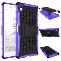 Антиударный гибридный чехол экстрим защита силикон/поликарбонат с ножкой-подставкой для Sony Xperia Z5 Premium Фиолетовый