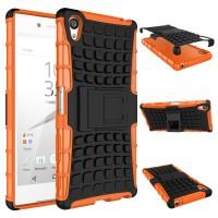 Антиударный гибридный чехол экстрим защита силикон/поликарбонат с ножкой-подставкой для Sony Xperia Z5 Premium Оранжевый