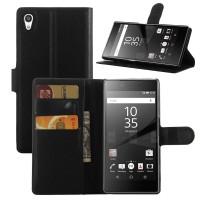 Чехол портмоне подставка на пластиковой основе с защелкой для Sony Xperia Z5 Premium