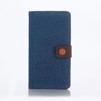 Чехол портмоне подставка текстура Джинс на пластиковой основе с магнитной защелкой для Sony Xperia Z5 Premium Голубой