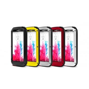 Антиударный пылевлагозащищенный гибридный премиум чехол силикон/металл/закаленное стекло для LG G3 (Dual-LTE)