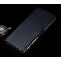 Кожаный чехол портмоне подставка (нат. кожа) для Sony Xperia Z5 Premium Черный