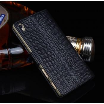 Кожаный чехол портмоне подставка (нат. кожа крокодила) для Sony Xperia Z5 Premium