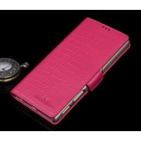 Кожаный чехол портмоне подставка (нат. кожа крокодила) для Sony Xperia Z5 Premium Пурпурный