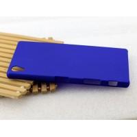 Пластиковый матовый Металлик чехол для Sony Xperia Z5 Premium Синий
