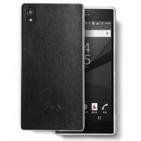 Гибридный силиконовый чехол с имитационным кожаным покрытием для Sony Xperia Z5 Premium Черный