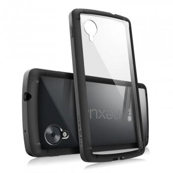 Полупрозрачный противоударный силиконовый чехол с поликарбонатными вставками для Google LG Nexus 5
