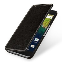 Кожаный чехол горизонтальная книжка (нат. кожа) для Google Huawei Nexus 6P Черный