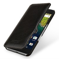 Кожаный чехол горизонтальная книжка (нат. кожа) с крепежной застежкой для Google Huawei Nexus 6P Черный