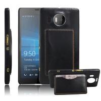 Дизайнерский чехол накладка сподставкой и отделениями для карт для Microsoft Lumia 950 XL Черный