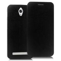 Текстурный чехол флип подставка на пластиковой основе с присоской для ASUS Zenfone C Черный