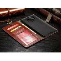 Глянцевый чехол портмоне подставка с застежкой и внутренними карманами для Microsoft Lumia 950 XL Коричневый