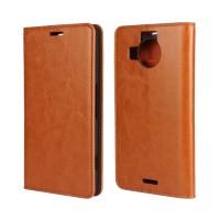 Кожаный чехол флип подставка на пластиковой основе для Microsoft Lumia 950 XL Бежевый