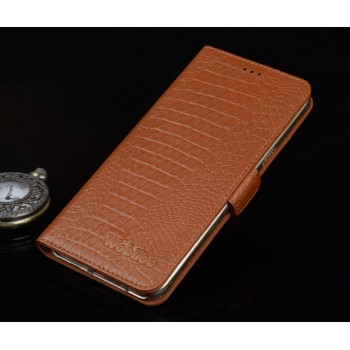 Кожаный чехол портмоне (нат. кожа крокодила) подставка для Microsoft Lumia 950 XL