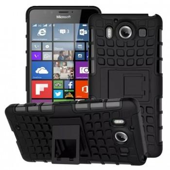 Антиударный гибридный чехол экстрим защита силикон/поликарбонат с ножкой-подставкой для Microsoft Lumia 950