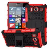 Антиударный гибридный чехол экстрим защита силикон/поликарбонат с ножкой-подставкой для Microsoft Lumia 950 Красный