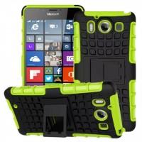 Антиударный гибридный чехол экстрим защита силикон/поликарбонат с ножкой-подставкой для Microsoft Lumia 950 Зеленый