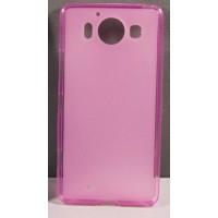 Силиконовый матовый полупрозрачный чехол для Microsoft Lumia 950 Розовый