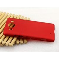 Пластиковый матовый металлик чехол для Microsoft Lumia 950 Красный