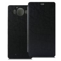 Текстурный чехол флип подставка на пластиковой основе с присоской для Microsoft Lumia 950 Черный