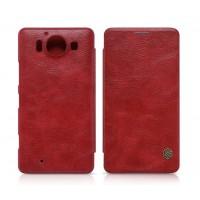 Кожаный чехол флип с внутренним отсеком для карт для Microsoft Lumia 950 Красный