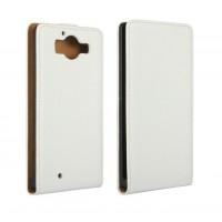 Чехол вертикальная книжка на пластиковой основе с магнитной застежкой для Microsoft Lumia 950 Белый