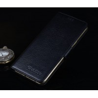 Кожаный чехол портмоне подставка (нат. кожа) с крепежной застежкой для Microsoft Lumia 950 Черный