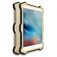 Эксклюзивный антиударный пылевлагозащищенный гибридный премиум чехол силикон/металл/закаленное стекло со съемной сегментарной накладкой для Ipad Mini 4 Бежевый