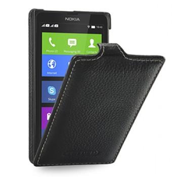 Кожаный чехол книжка вертикальная (нат. кожа) для Nokia X/X+