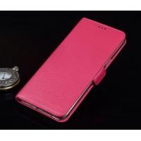 Кожаный чехол портмоне (нат. кожа) подставка для ZTE Axon Mini Пурпурный
