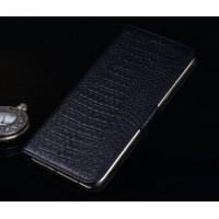Кожаный чехол портмоне (нат. кожа крокодила) подставка для ZTE Axon Mini Черный