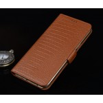 Кожаный чехол портмоне (нат. кожа крокодила) подставка для ZTE Axon Mini