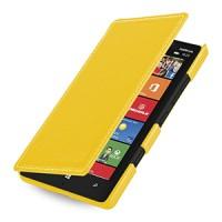 Кожаный чехол книжка горизонтальная (нат. кожа) для Nokia Lumia 930 желтая