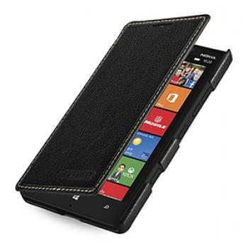 Кожаный чехол книжка горизонтальная (нат. кожа) для Nokia Lumia 930 черная