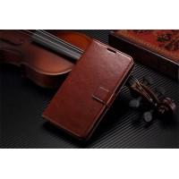 Чехол портмоне подставка из глянцевой кожи с магнитной застежкой вперед для Sony Xperia C Коричневый