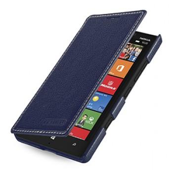 Кожаный чехол книжка горизонтальная (нат. кожа) для Nokia Lumia 930 синяя