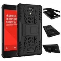 Антиударный гибридный чехол экстрим защита силикон/поликарбонат для Xiaomi RedMi Note 2 Черный