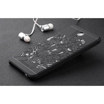 Антиударный нанотонкий 0.8 мм силиконовый матовый непрозрачный усиленный чехол с объемно-рельефным принтом Дракон для Xiaomi RedMi Note 2