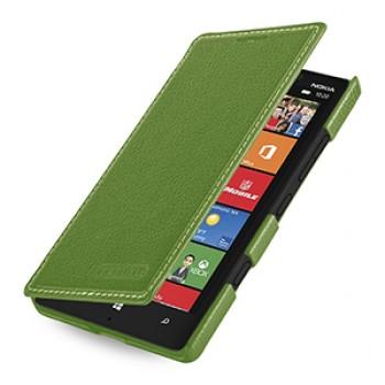 Кожаный чехол книжка горизонтальная (нат. кожа) для Nokia Lumia 930 зеленая